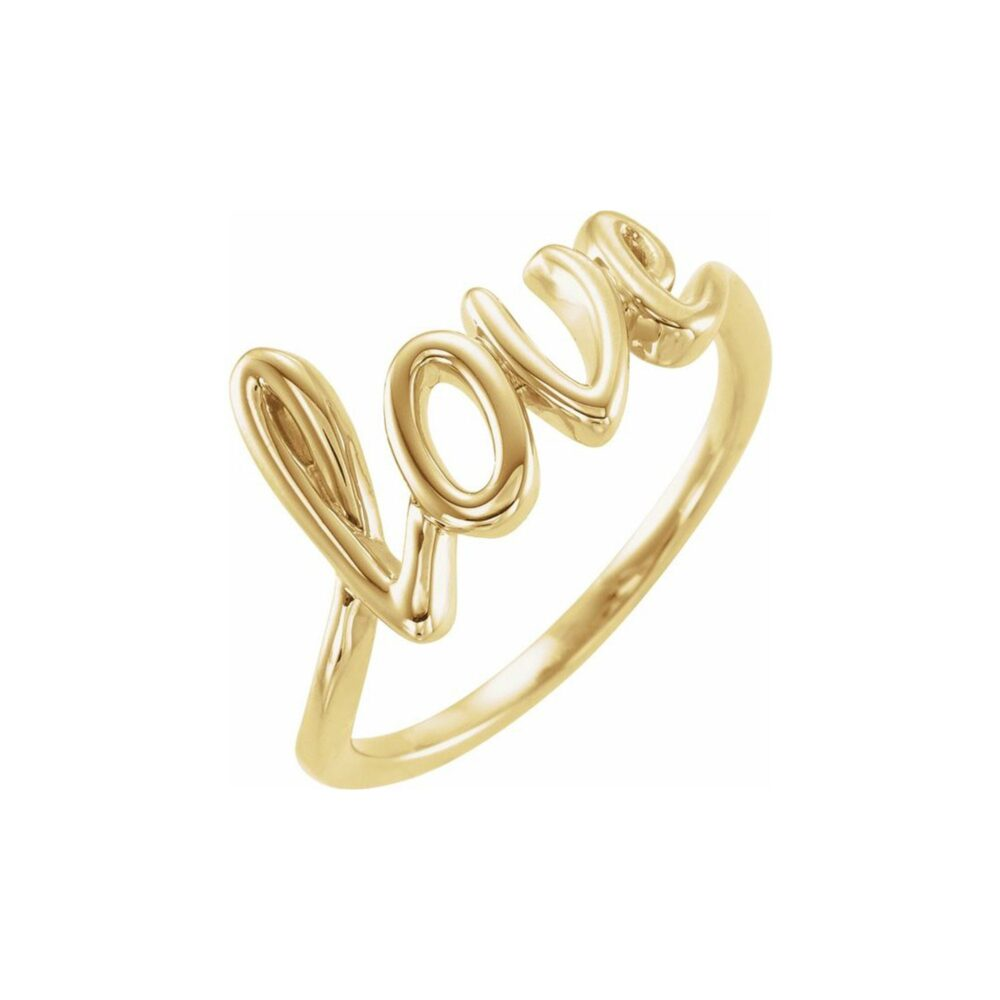 Love Ring - 14K, 18K Yellow, Rose, White Gold Or Platinum. Fully Customizable, Personalized Fine Jewelry