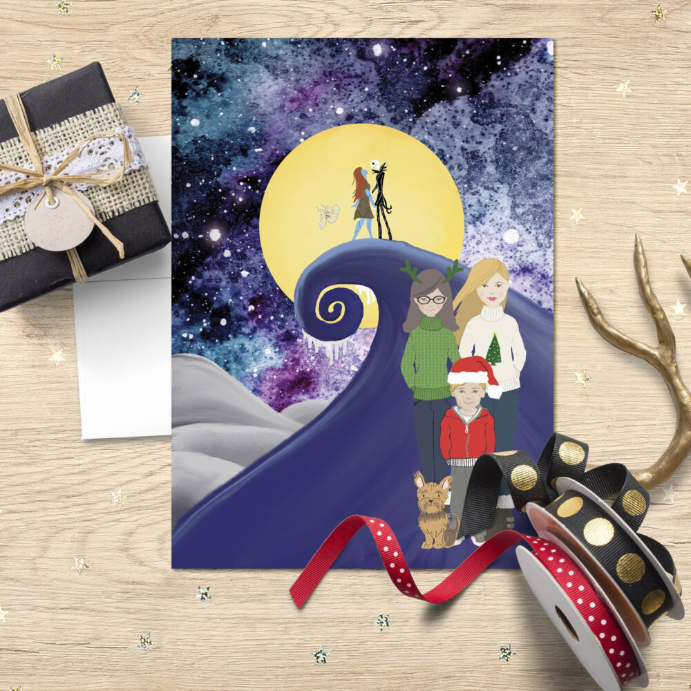 Printable Completely Customized Illustrated Portrait Christmas Cards~Create Your Own Holiday Postcards & Folding Cards With Envelopes