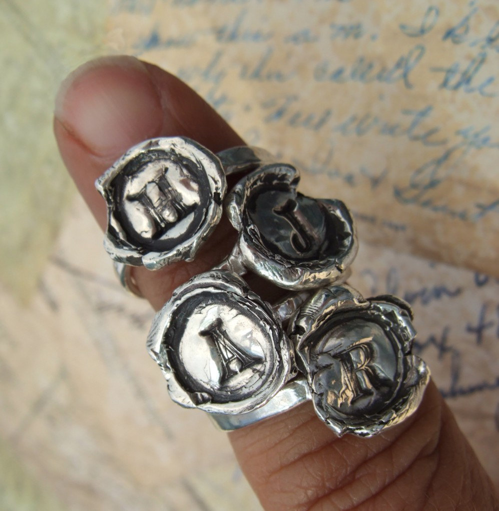 Monogram Initial Jewelry Gift For Her, Handstamped Jewelry, Hand Made Ring, Custom 4 5 6 7 8 9 10 11 12 13 14 15