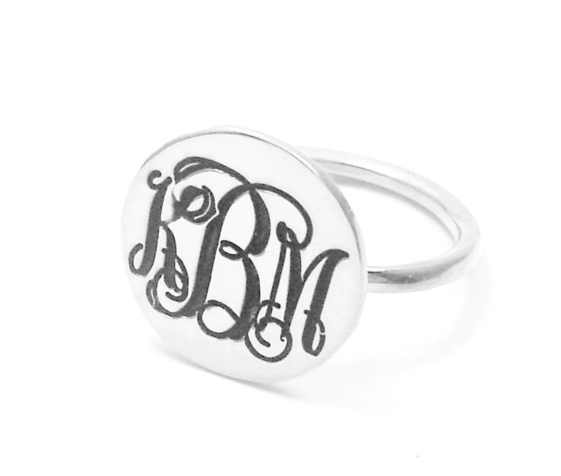 sterling Silver Disk Ring, Nameplate Monogram Initial Ring, Personalized 3 Ring, Womens Ring, Blackend Ring