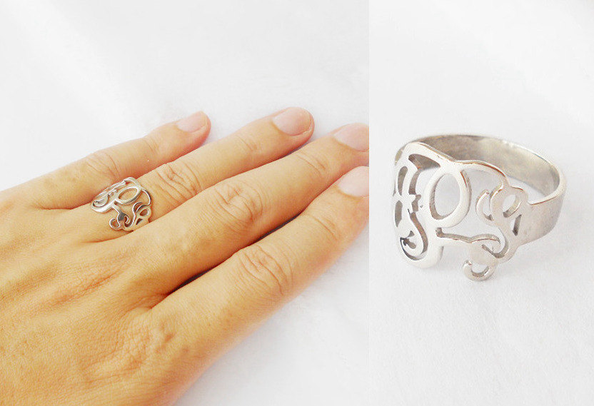 Monogram Ring Sterling Silver, Monogram Initials Ring, Personalized Ring, Womens Monogrammed Ring, Cut Out Initial Ring, Bridesmaids