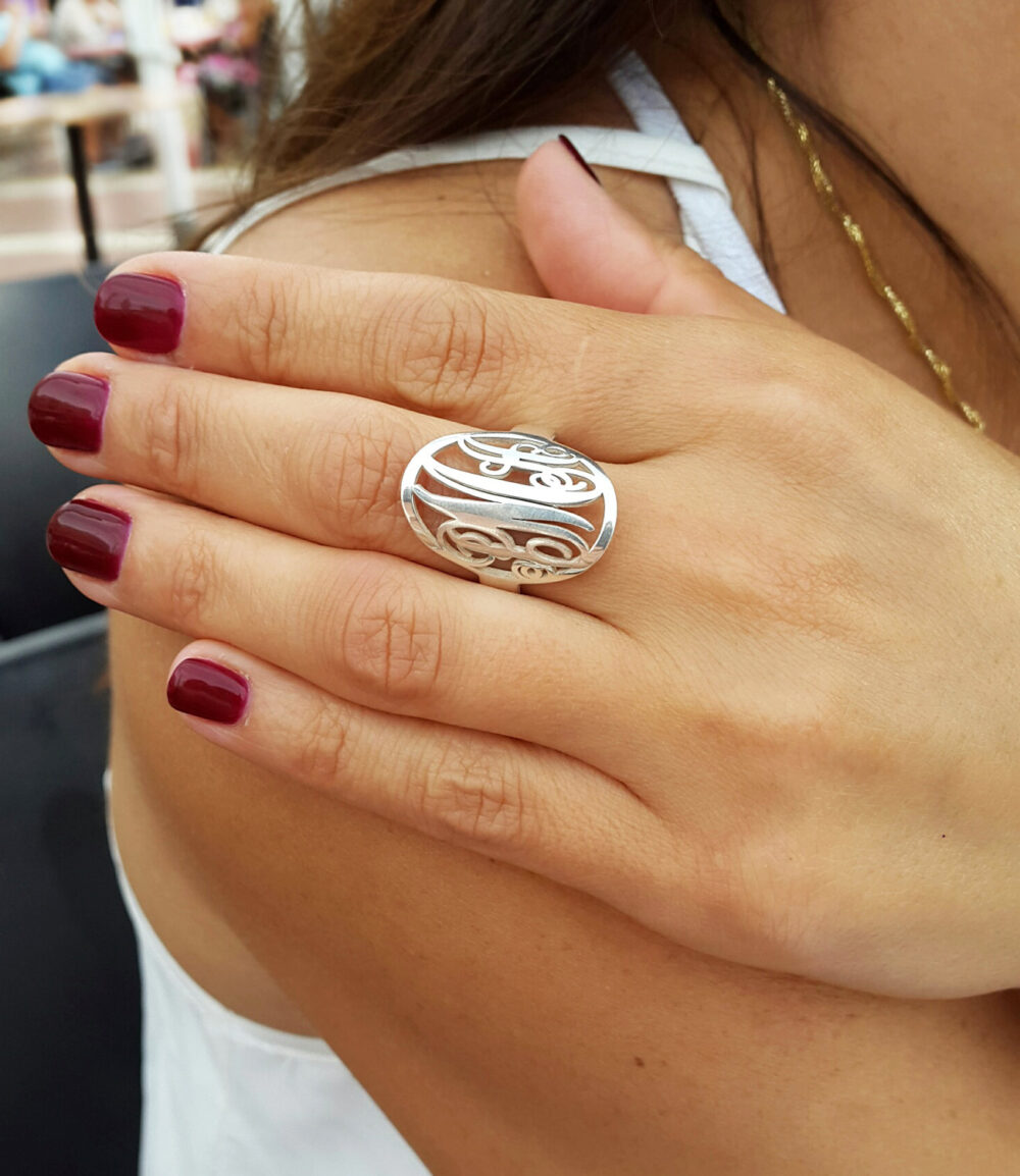 Statement Monogram Initial Ring - Circle Custom Made With Any Initials You Wish 925 Sterling Silver