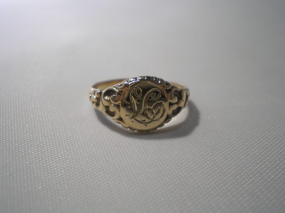 Vintage Estate 10K Ornate Scroll Detail Signet Monogram Initial Ring Size 5.5 For Woman Pinkie Birthday Friend Office Gift Idea