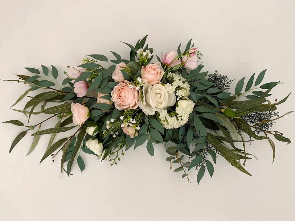 Blush Pink & White Rose With Eucalyptus Swag For Front Door/Wedding Arch/Arbor/Archway/Wall Decor, Silk Flower Swag, Wedding Hanging Flowers