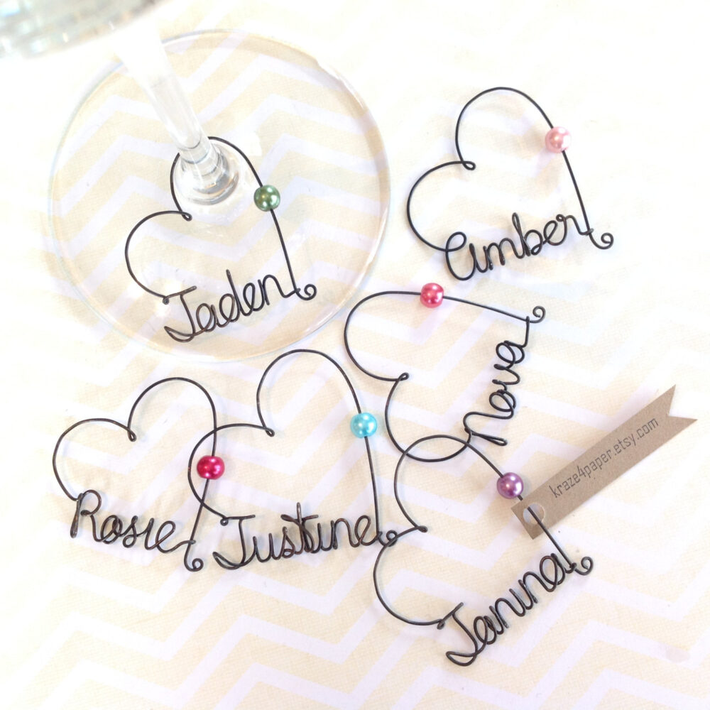 Personalized Wine Glass Charms, Wedding Favors, Bachelorette Party Champagne Bridal Shower Favors
