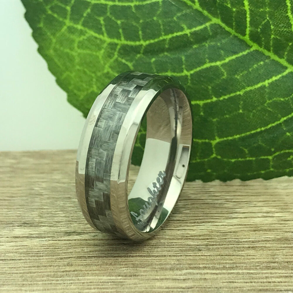 8mm Titanium Wedding Ring, Personalized Custom Engrave Carbon Fiber Band Purity Promise Ring