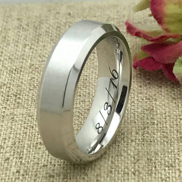6mm Personalized Titanium Wedding Band, Custom Engraved Promise Ring, His & Hers Couples Purity Friendship Ring