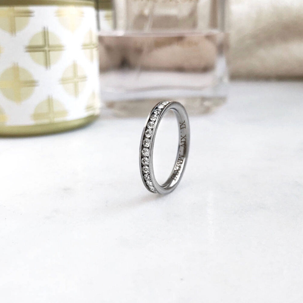 Eternity Ring, Sterling Silver Stackable Ring Channel Set/Round Cu Purity Promise Ring- Wedding Band-Size 4 - 12