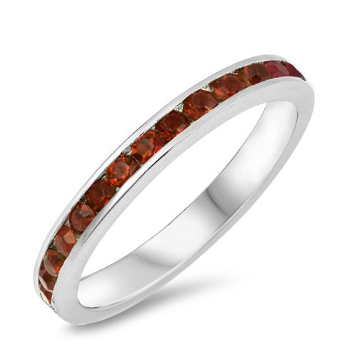 Round Cz Eternity Band Simulated Garnet Cubic Zirconia Sterling Silver Ring, Stackable Ring Purity Promise Ring-, Free Engraving