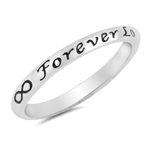 3mm Forever Love Ring, 925 Sterling Silver Personalized Custom Promise Purity Skinny Ring