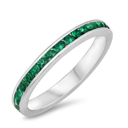 Eternity Band, Simulated Emerald Sterling Silver Stackable Ring Purity Promise Ring - Wedding Band Free Engraving