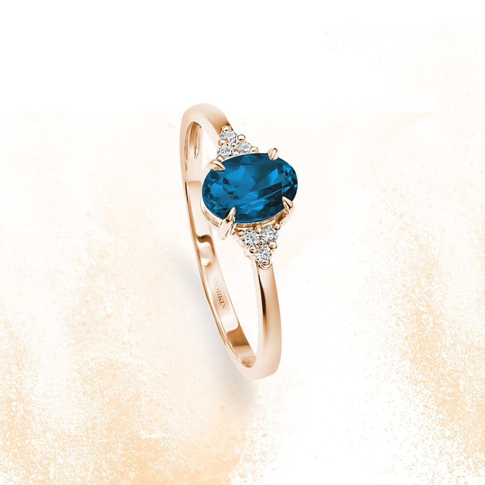 London Blue Topaz Diamonds Engagement Ring, Gold London Cluster Oval Cut Topaz, Antique Oval Ring