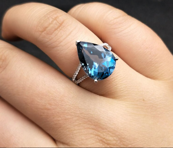 London Blue Topaz Ring, 925 Sterling Silver Ring, Pear Cut Ring, Women Gift Ring, December Birthstone Ring, Birthday Gift Jewelry