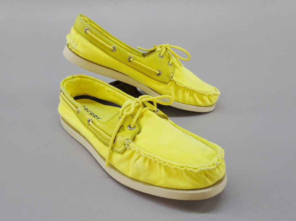 Vintage Yellow Canvas Sperry Top-Sider Boat Deck Shoes, Mens Size 11.5 Preppy 80S Style Casual Country Club Fashion Slip On Loafers