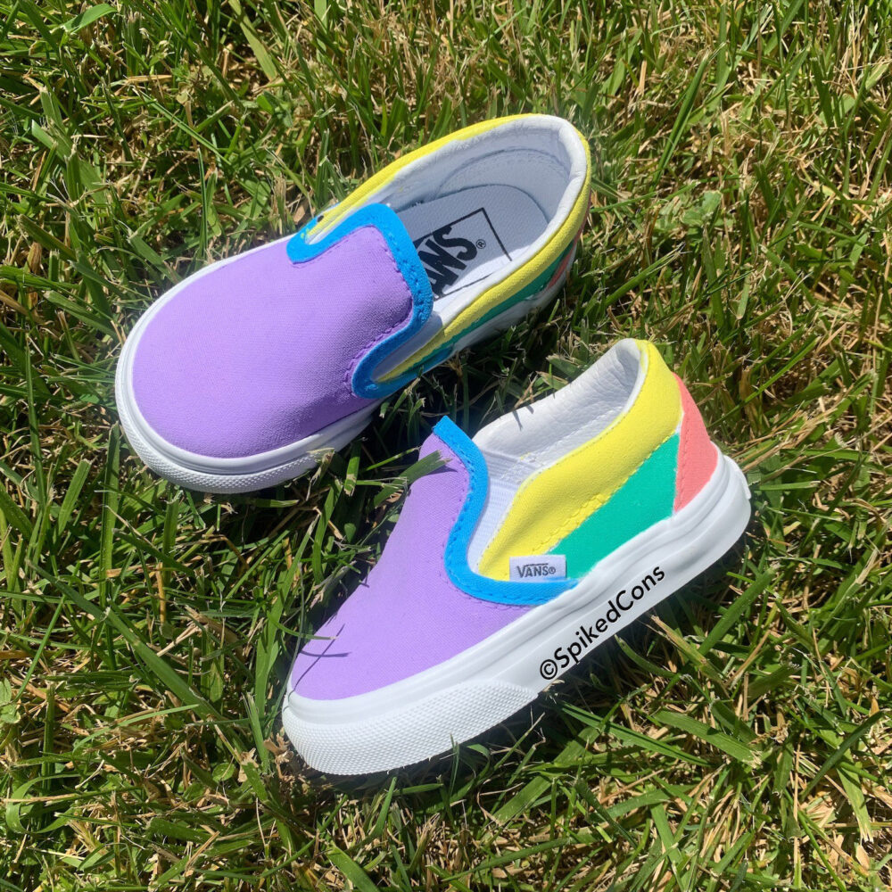 Custom Unicorn Colored Slip On Vans-Women Men Kids Toddler
