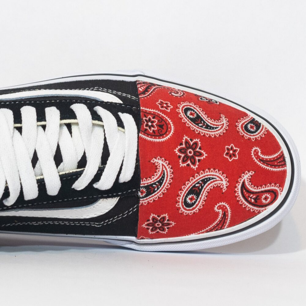 "Vans Low Top Custom ""Red Bandanas' Available in All Sizes For Men, Women, Children"