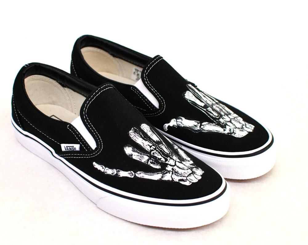 Hand Painted Shaka Skeleton Hands - Black Canvas Slip On Vans Shoes Men's & Women's