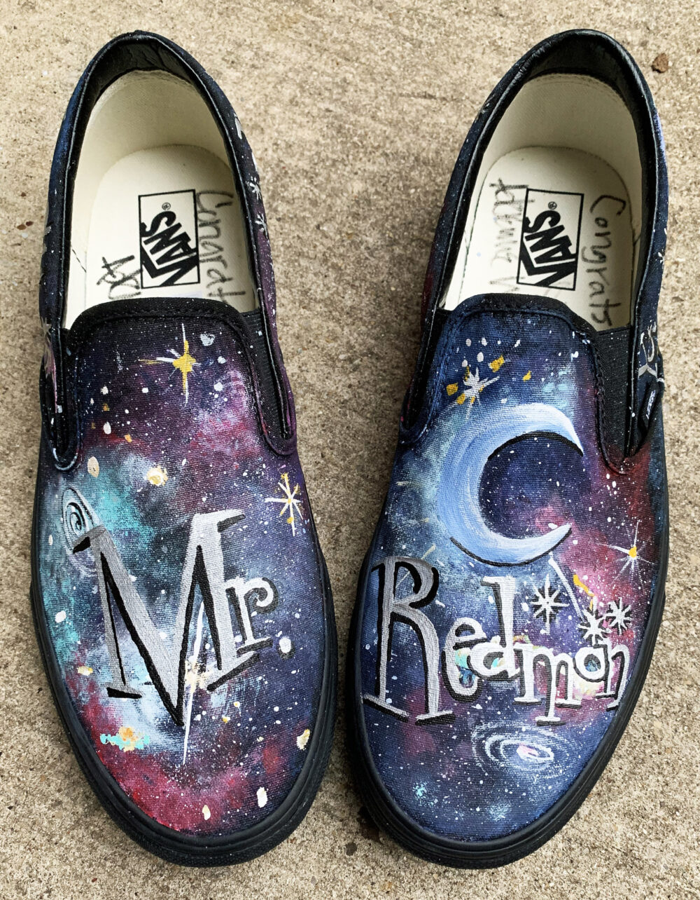Vans Galaxy Shoes For Groom, Handpainted Milky Way Black Slip On Wedding Shoe Him, You Are My Moon & Stars, Galactic Groomsmen Van