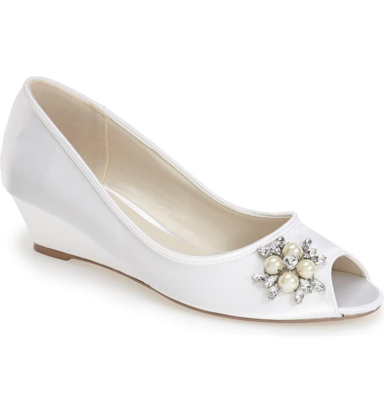 Sale Wedding Shoes, Wedge , Dyeable, Satin Shoe, Pearls & Crystals, Women's Open Toe, Brand New, Free Shipping