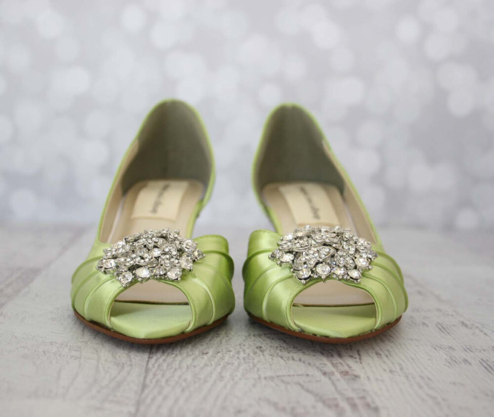Wedding Shoes For Bride, Dyeable Shoes, Green Bridal Low Heel Comfortable Heels, Bride