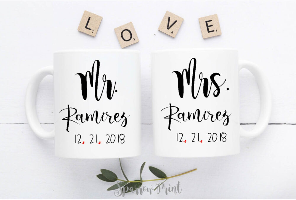 Personalize Mr Mrs Engagement Mugs Set| Wedding Anniversary Gift| Mugs| Newlywed W29