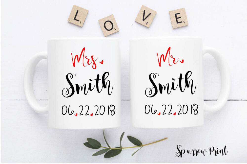Personalize Mr & Mrs Engagement Mugs Set| Mrs. Wedding Bridal Shower Gift| Anniversary W41
