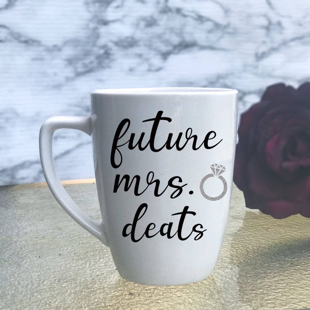 Engagement Gift For Her, Bride To Be, Newly Engaged, Future Mrs Glass, Bridal Shower Cup, Future Coffee Cup Mug