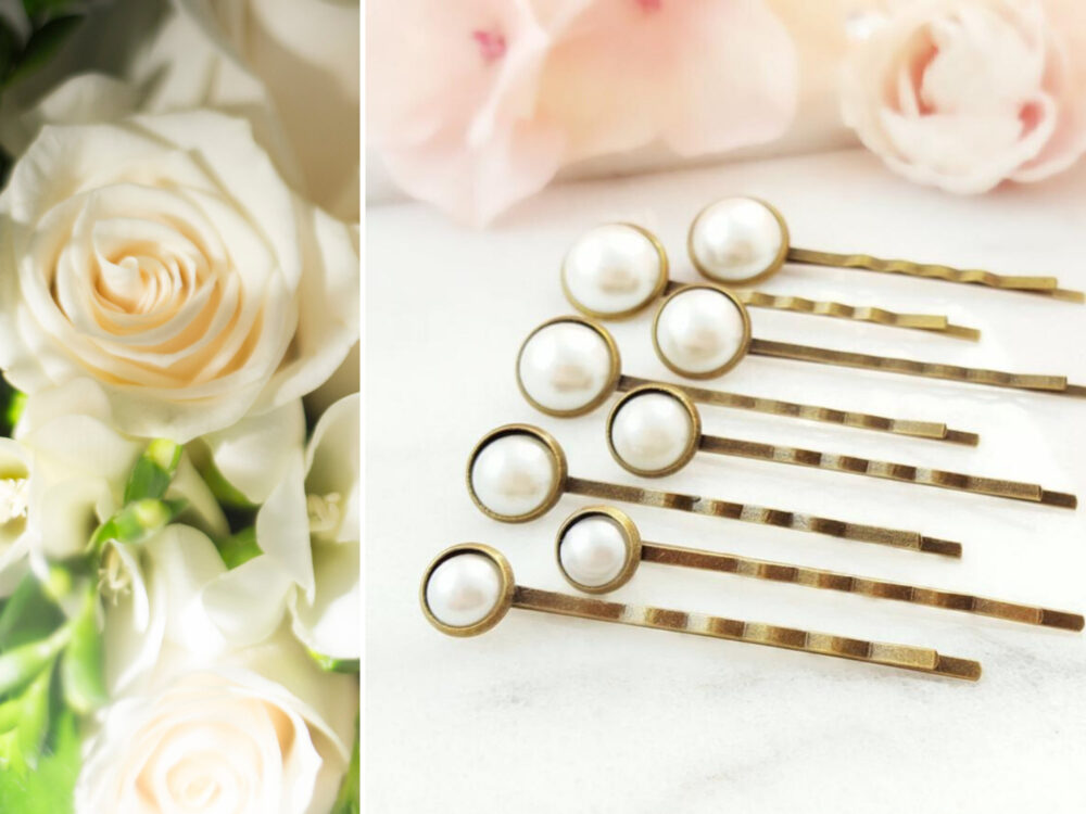 Pearl Hair Pins Set Of 8, White Bun Bobby Pins, Pearl Wedding Hair Pick, Classic Ivory Bridal Accessories For Party Gift H4207A