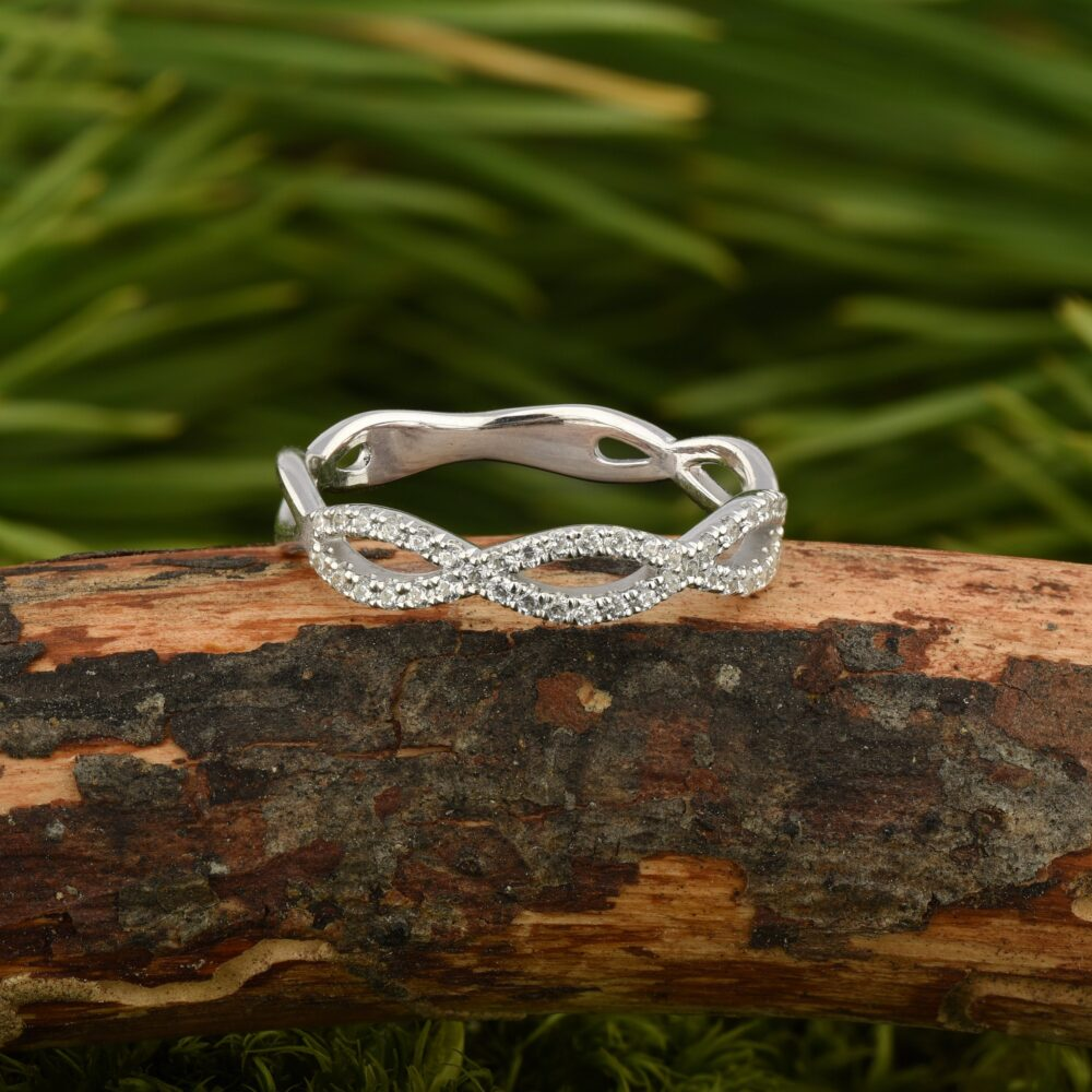 Twisted Wedding Band, Celtic Infinity Women Ring, Simple Band Women, Cubic Zirconia Engraved Ring
