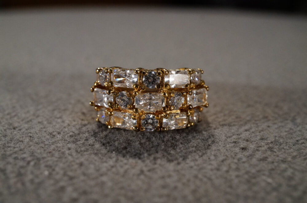Vintage Sterling Silver Yellow Gold Overlay Wedding Band Stacker Design Ring 15 Round Baguette Prong Set White Topaz 3 Row Setting, Size 7