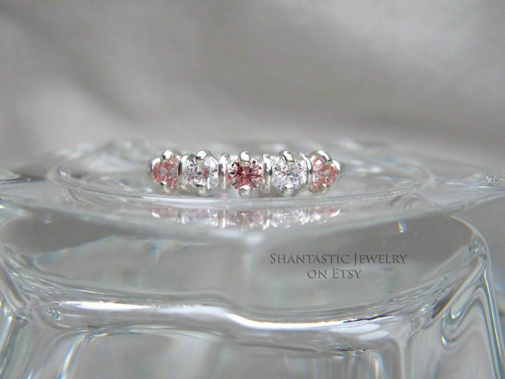 Round Cubic Zirconia Cz Wedding Band, 3mm | .10 Cts Ea Swarovski Morganite Pink & White Sterling Silver Ring, Made To Order
