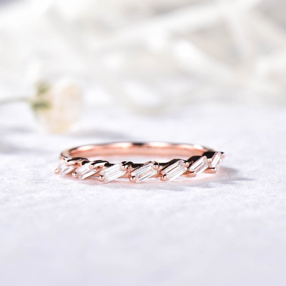 14K Sterling Silver Cz Diamond Wedding Band Rose Gold Stackable Ring Unique Art Deco Matching For Women Engagement Bridal Anniversary