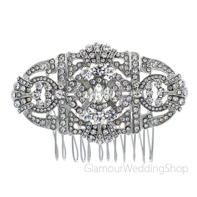 Sale - Crystal Silver Hair Comb Art Deco Bridal Hairpiece Old Hollywood Gatsby Wedding Accessories Rhinestone Combs Headpiece Jewelry