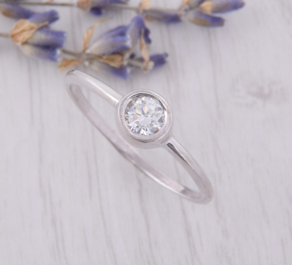 Womens Simple Promise Ring, Dainty Small Silver Minimalist Delicate Ring