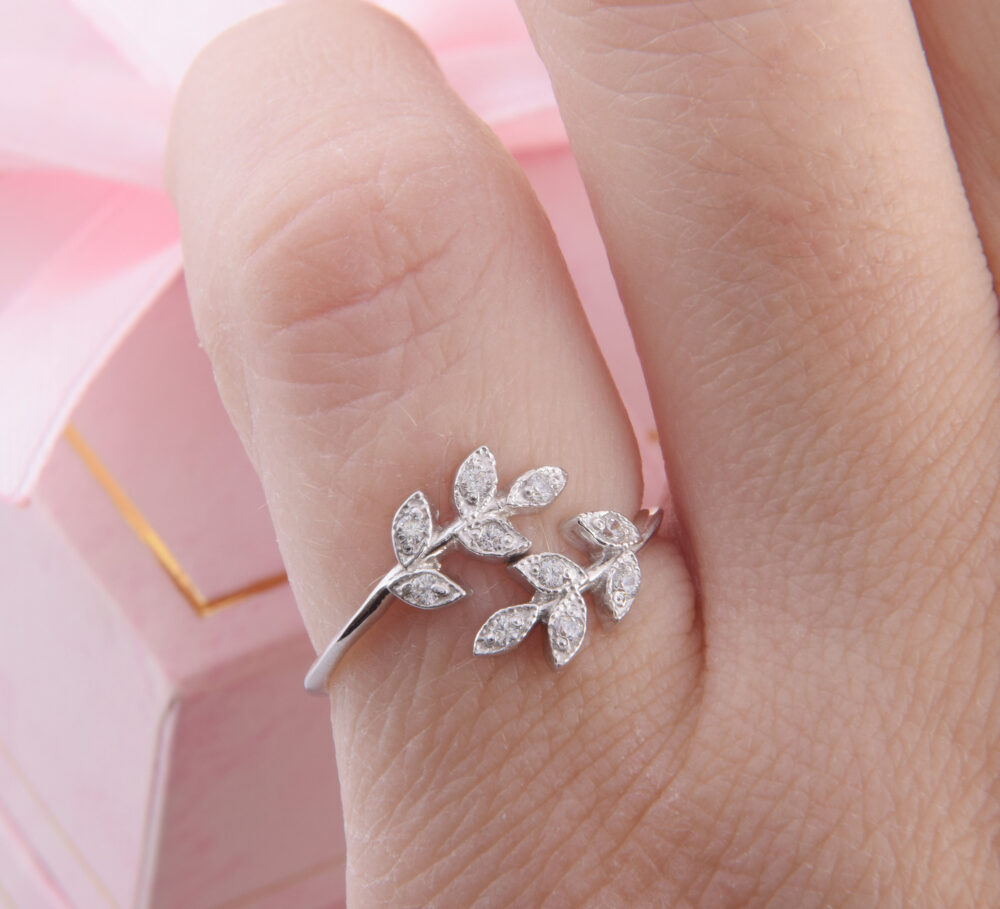 Branch With Leaves Ring, Silver Promise Promise Ring For Her, Minimalist Dainty Tiny Unique Silver