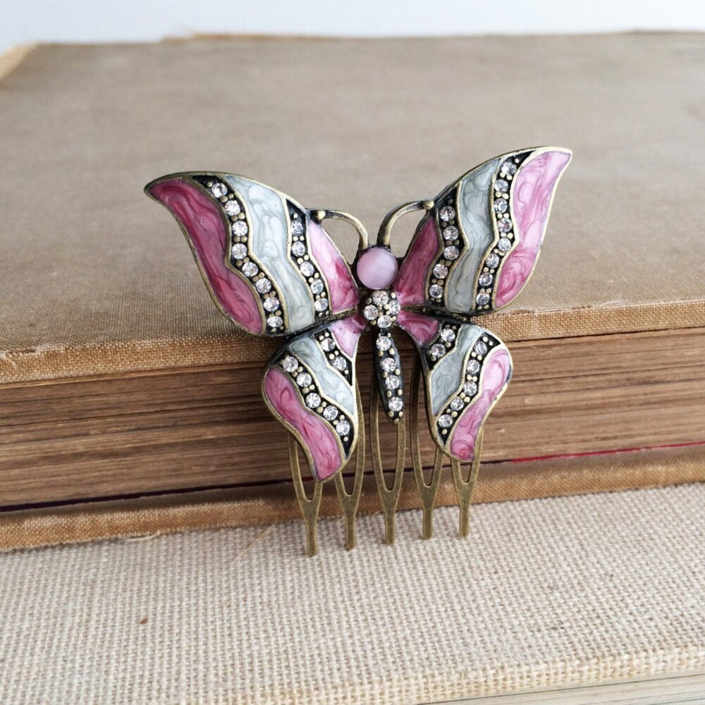 Boho Butterfly Comb - Butterfly Wedding Hair Clip, Hippie Boho Accessories, Bronze Pink Garden Wedding, Bridal Art Deco Comb Clip