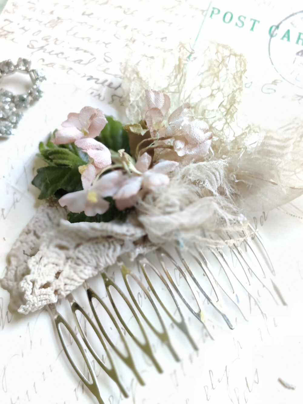 Antique Lace Millinery Bridal Comb, Woodland Wedding Hair Piece, Sacred Cake, Vintage Outdoor Wedding