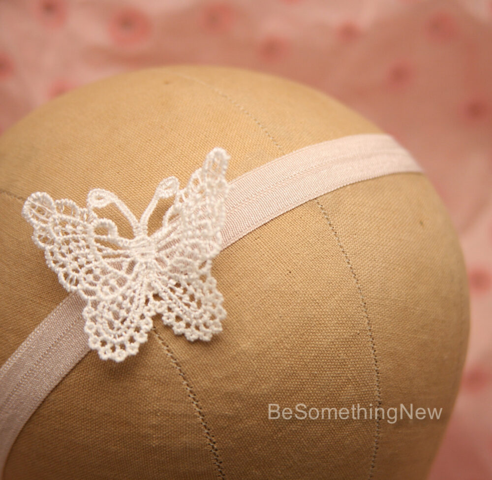 Baby Headband With Vintage Lace Butterfly, Kids Stretch Hair Accessory Headband, Flower Girl Photo Prop