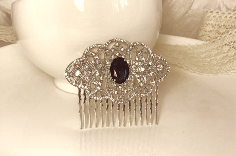 Blue Bridal Hair Comb, Sapphire Wedding Navy Silver Lace Headpiece, Vintage Style Cobalt Comb