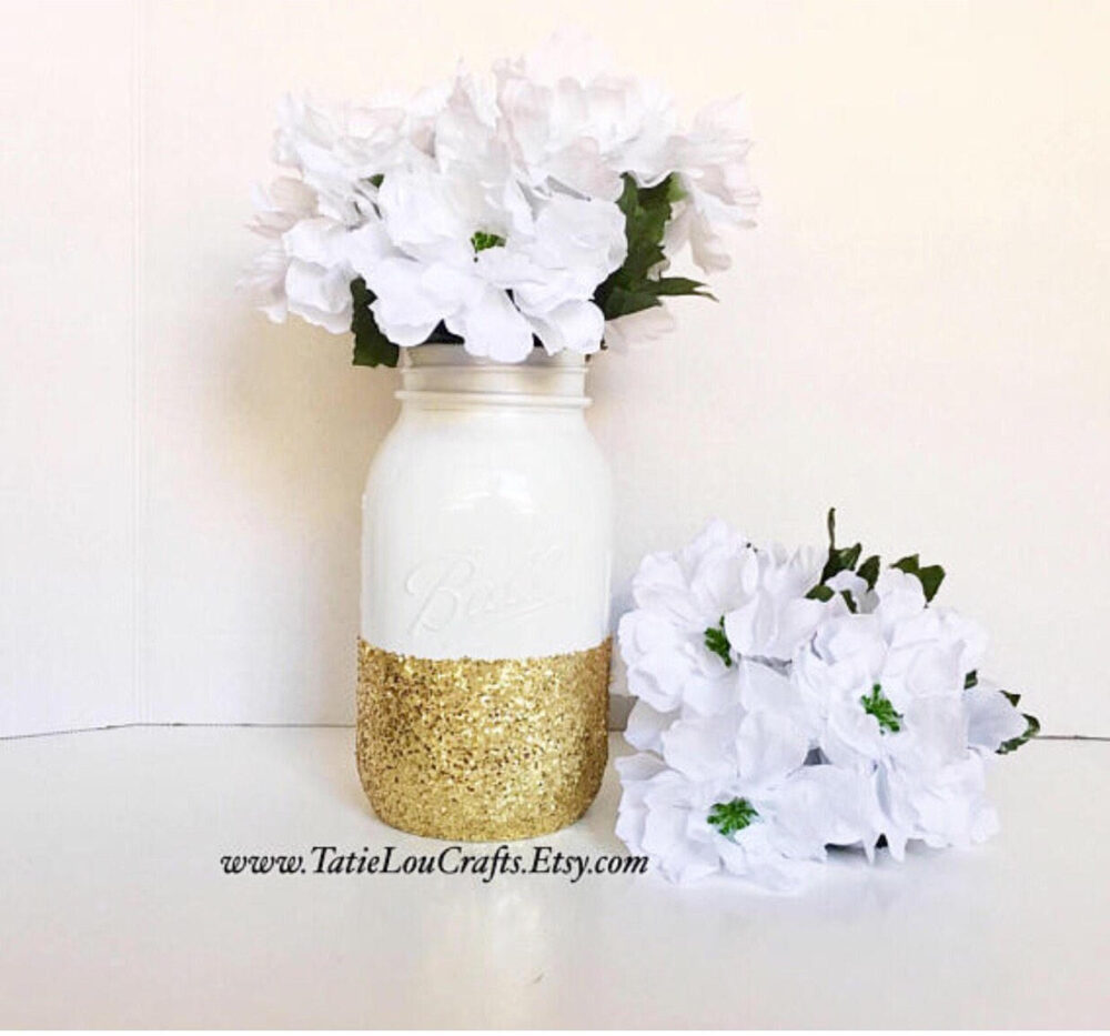 White & Gold Mason Jar, Birthday Centerpiece, Wedding Centerpiece, White Decor, Baptism Jars, Bridal Shower Centerpieces