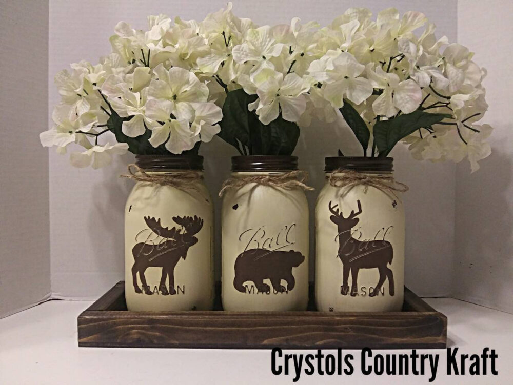 Woodland Animal Centerpieces, | Flowers Not Included , Moose Bear Deer Decor, Woodland Nursey, Wedding Mason Jar Decor