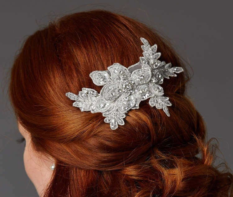 Sculptured European White Lace Bridal Comb With Crystals & Sequins Free Domestic Shipping