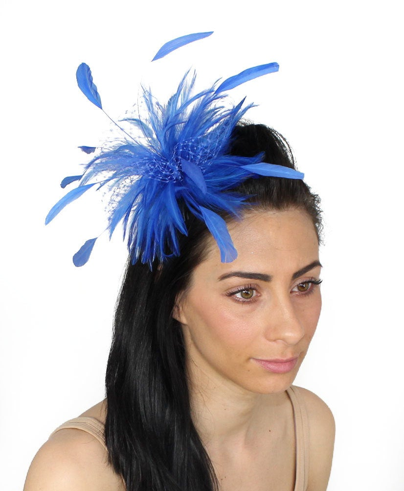 Royal Blue Cleo Kentucky Derby Wedding Fascinator Hat | In 20 Colours