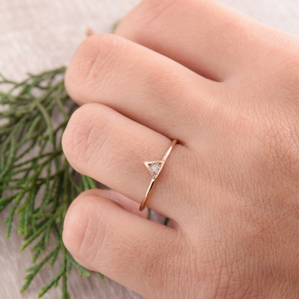 Womens Simple Promise Ring, Small Gold Triangle Geometric Minimalist Unique Dainty Ring For Her