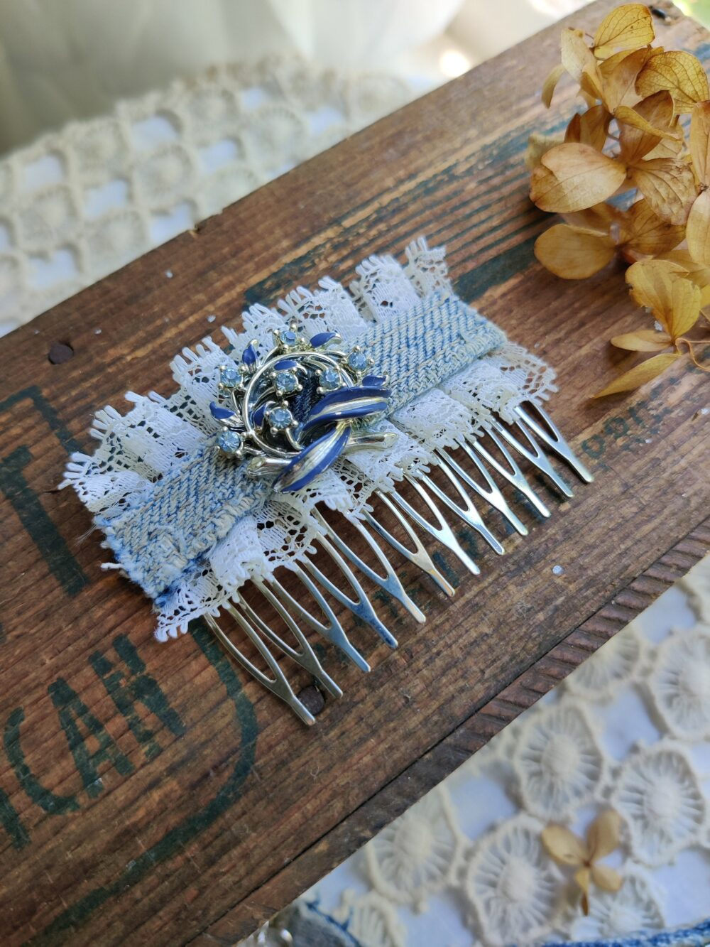 "Denim Hair Jewelry, Distressed Denim & Lace Comb, Vintage Brooch Rustic Wedding Boho Chic Comb. ""Claire"""