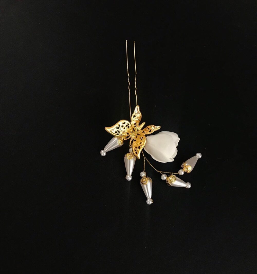 Wedding Hair Pins White Flower Pearl Bridal Hair Pins Crystal Accessories Bridesmaid Gold Butterfly Gift Wife Piece Holiday