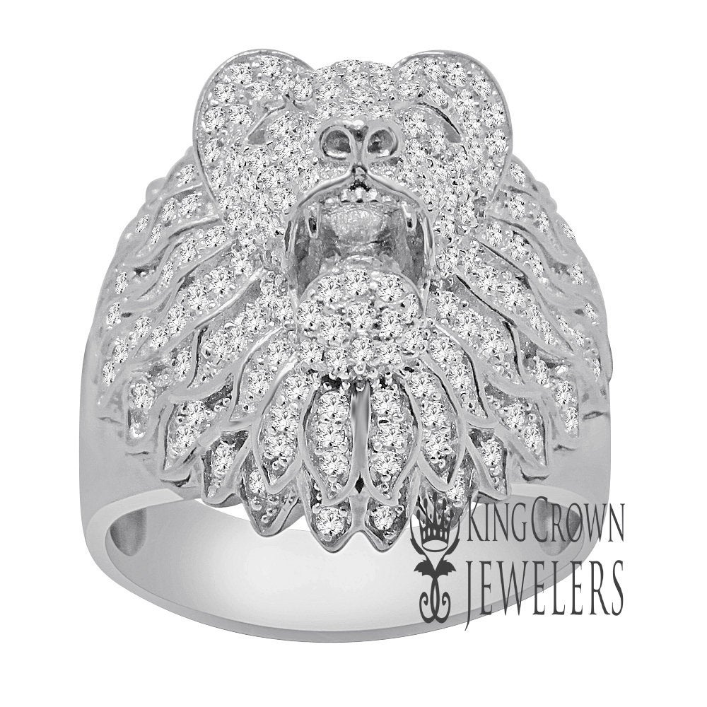 Mens 10K Real White Gold On Pure Italian Sterling Silver Lab Diamond Lion King Head Ring Band