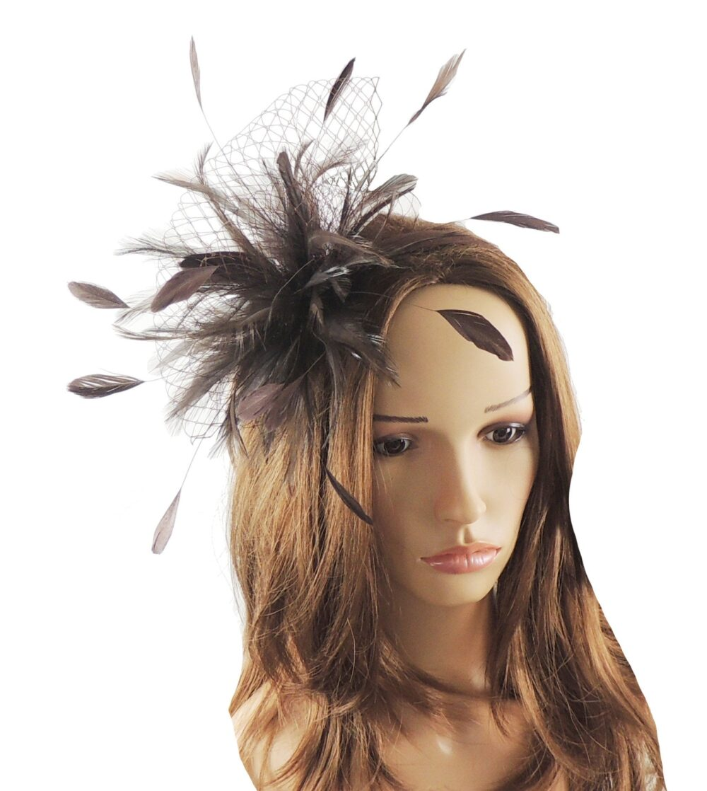 Chocolate Brown Cleo Kentucky Derby Wedding Fascinator Hat | In 20 Colours