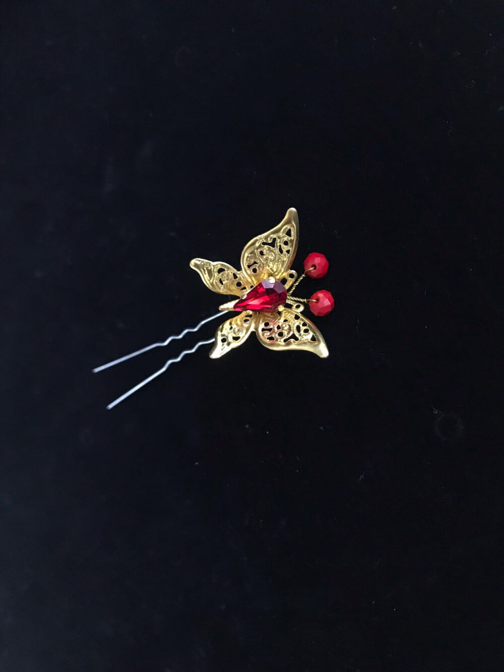 Party Wedding Hair Pins Gold Red Xmas Bridal Hair Pins Crystal Accessories Ch Bridesmaid Butterfly Gift Wife Piece Holiday