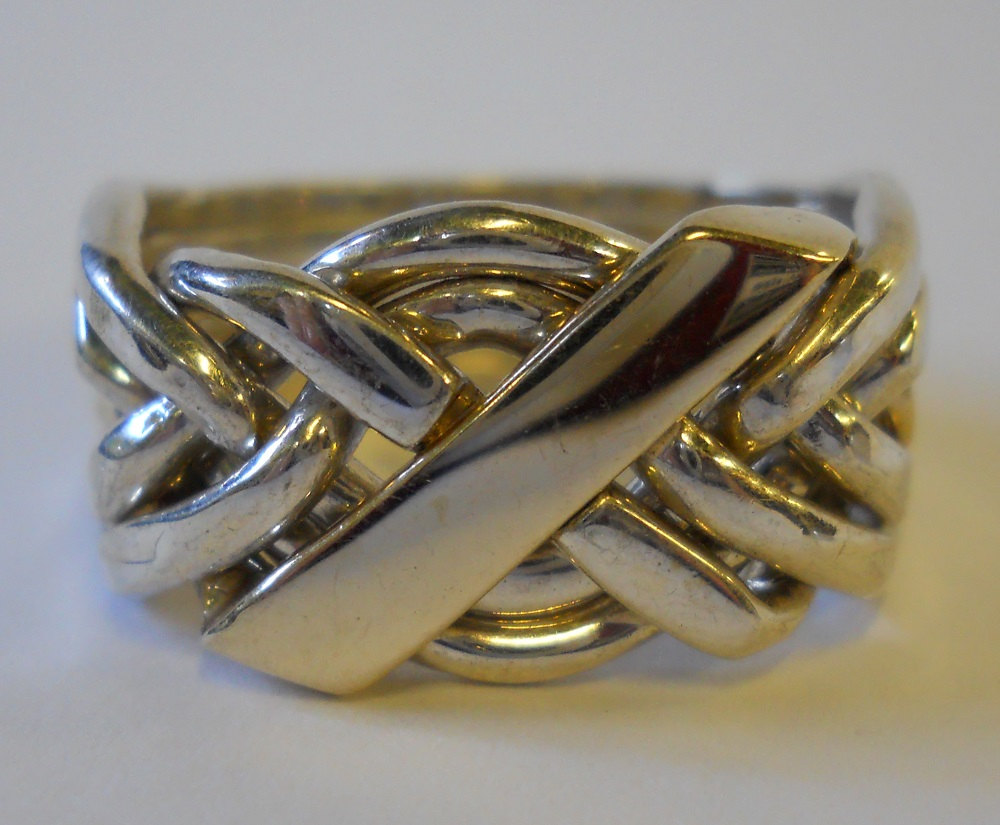 10K Gold & Sterling Silver Mens Six Band Puzzle Ring 61N